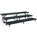 "National Public Seating Straight 3-Level Riser, 18"" x 96"" Carpeted choral risers, band risers, school risers, straight risers, choir stage risers, standing riser, 3 tier, 3 level"
