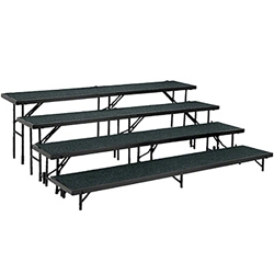 "National Public Seating Straight 4-Level Riser, 18"" x 96"" Carpeted choral risers, band risers, school risers, straight risers, choir stage risers, standing riser, 4 tier, 4 level"