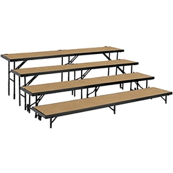 "National Public Seating Straight 4-Level Riser, 18"" x 96"" Hardboard choral risers, band risers, school risers, straight risers, choir stage risers, standing riser, 4 tier, 4 level"