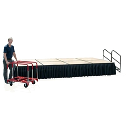 TotalPackage™ Dual-Height Portable Hardboard Stage Kit with Wheels, 8x16 8x16, 16x8, folding stage, cart, storage, portable stage kit, adjustable height, total package, transfix