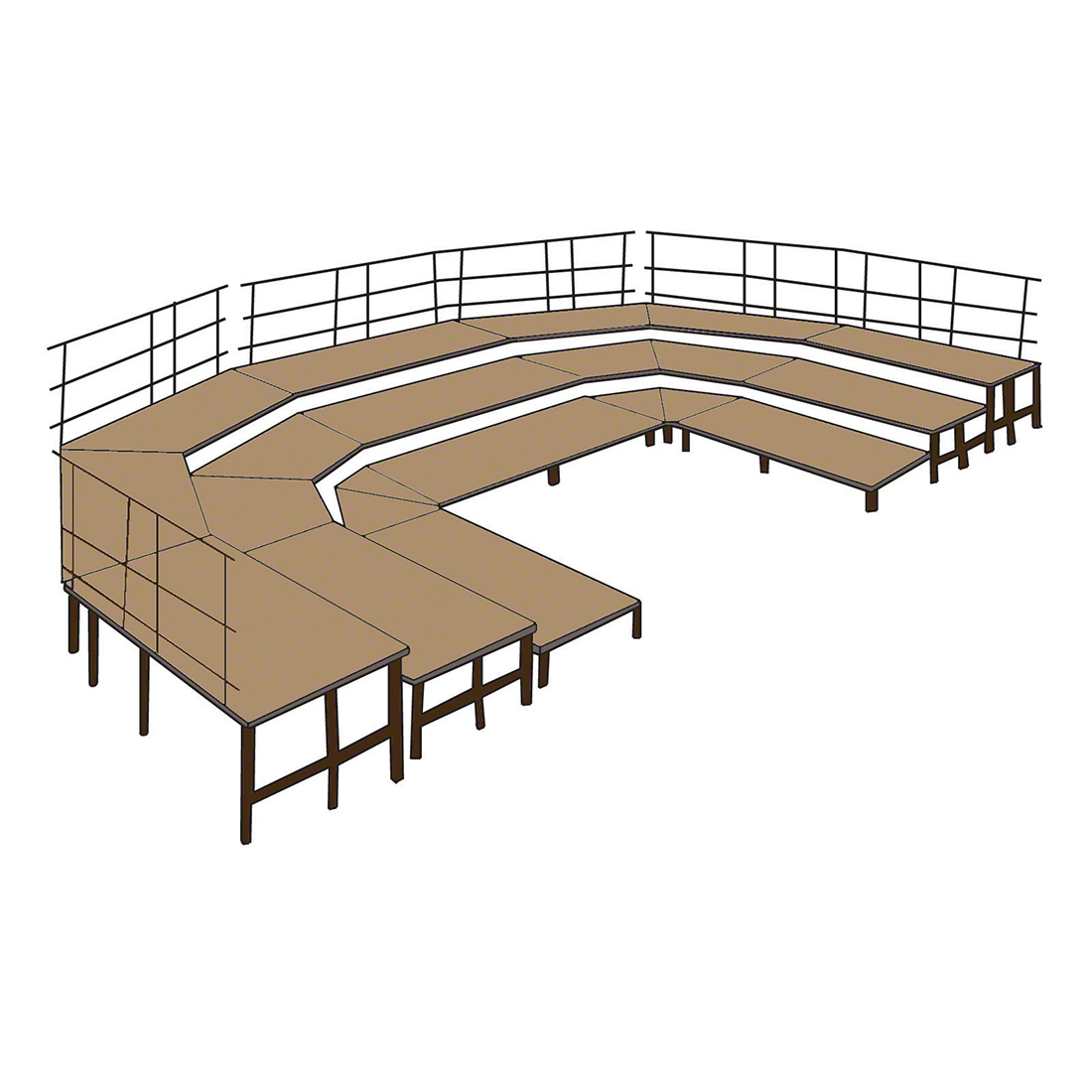 national public seating 3 tier seated riser stage section hardboard 48 deep - National Public Seating
