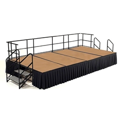 "National Public Seating 8x12 Portable Stage Kit - 24"" High, Hardboard 8x12 stage, 12x8 stage, 3x8 stage panels, stage kit, hardboard finish, small stage with steps"