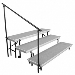 National Public Seating Side Guard Rail for TransPort 3-Tier Riser guardrails, guard rails, siderails, side rails