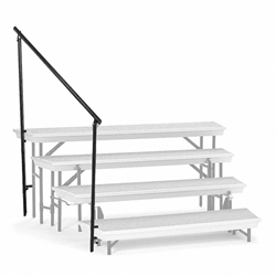 National Public Seating Side Guard Rail for TransPort 4-Tier Riser guardrails, guard rails, siderails, side rails