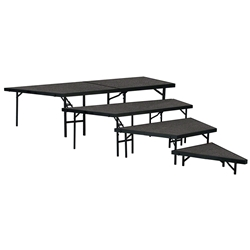 "National Public Seating 4-Tier Seated Riser Stage Pie Section, Carpeted (36"" Deep Tiers) choral risers, band risers, school risers, seated risers, angle, wedge, NPS, national public seating"