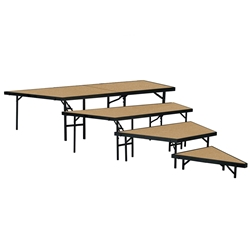 "National Public Seating SPST48HB/SP4832HB 4-Level Seated Riser Stage Pie Set, Hardboard (48"" Deep Tiers) choral risers, band risers, school risers, seated risers, angle, wedge"