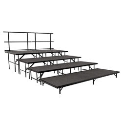 "National Public Seating SST48C/S4832C 4-Level Seated Riser Straight Stage Section, Carpet (48"" Deep Tiers) choral risers, band risers, school risers, seated risers"