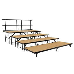 "National Public Seating SST48HB/S4832HB 4-Level Straight Seated Riser Set, Hardboard (48"" Deep Tiers) choral risers, band risers, school risers, seated risers, S4832HB, S4824HB, S4816HB, S488HB"