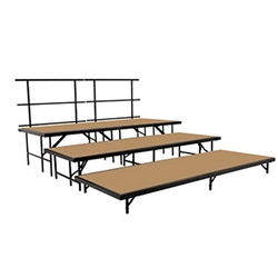 "National Public Seating SST48HB 3-Level Seated Riser Stage Set, Hardboard (48"" Deep Tiers) choral risers, band risers, school risers, seated risers, S488HB, S4816HB, S4824HB, S4832HB, national public seating"