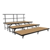 "National Public Seating SST36HB 3-Level Seated Riser Straight Stage Section, Hardboard (36"" Deep Tiers)"
