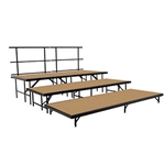 "National Public Seating 3-Tier Seated Riser Stage Section, Hardboard (48"" Deep Tiers) choral risers, band risers, school risers, seated risers, S488HB, S4816HB, S4824HB, S4832HB, national public seating"