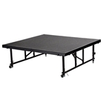 "National Public Seating TransFix 4'x4' Carpeted Stage Panel with Wheels, 16""-24"" High 4x4 staging platform, stage deck, wheeles, wheeled, casters, national public seating"
