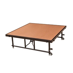 "National Public Seating TFXS48481624HB TransFix 4'x4' Stage Panel, 16""-24"" Height Adjustable, Hardboard 4x4 staging platform, stage deck, wheels, wheeled, casters"