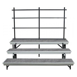 National Public Seating 3-Level Straight Trans-Port Standing Choral Risers and Guard Rail Bundle standing risers, band risers, school risers, straight risers, wedge risers, angled risers, transport risers, trans port risers, choir stage risers