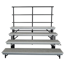 National Public Seating 4-Level Straight Trans-Port Standing Choral Risers and Guard Rail Bundle standing risers, band risers, school risers, straight risers, transport risers, trans port risers, choir stage risers