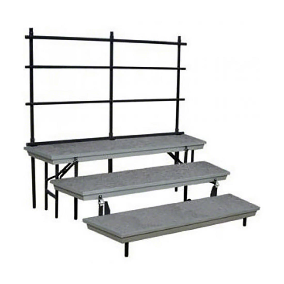 national public seating 3 level tapered trans port standing choral risers guard - National Public Seating