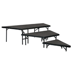 "National Public Seating 3-Tier Seated Riser Stage Pie, Carpeted (48"" Deep Tiers) choral risers, band risers, school risers, seated risers, angle, wedge, NPS, national public seating"