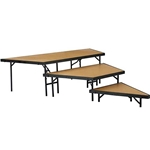 "National Public Seating 3-Tier Seated Riser Stage Pie Section, Hardboard (36"" Deep Tiers) choral risers, band risers, school risers, seated risers, angle, wedge"