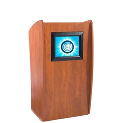 Oklahoma Sound The Vision Floor Lectern with Digital Display lectern, wired podium, wired lectern, podium with microphone, podium with screen, podium speakers, lcd screen