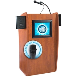Oklahoma Sound The Vision Wireless Floor Lectern with Digital Display lectern, wireless podium, wired lectern, podium with microphone, podium with screen, podium speakers, LCD screen