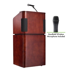 Oklahoma Sound 950/901-LWM Veneer Series Tabletop & Base Combo Sound Wireless Lectern  teaching lecterns, training lecterns, lecterns, sound lecterns, school furniture, college furniture, university furniture, church