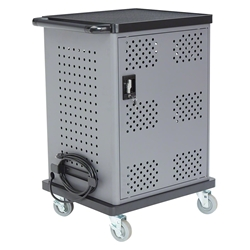 Oklahoma Sound DCC Duet Adjustable Charging Cart av cart, a/v cart, audio visual cart, laptop cart, chromebook charging station, tablet charging station