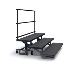 Staging 101 3-Tier Straight Folding Choral Risers with Guardrail choral risers, chorus risers, choir risers, standing risers, school risers, trans-port choral riser