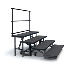 Staging 101 4-Tier Straight Folding Choral Risers with Guardrail choral risers, chorus risers, choir risers, standing risers, school risers, trans-port choral riser