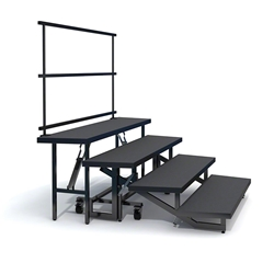 Staging 101 4-Tier Wedge Folding Choral Risers with Guardrail choral risers, chorus risers, choir risers, standing risers, school risers, trans-port choral riser