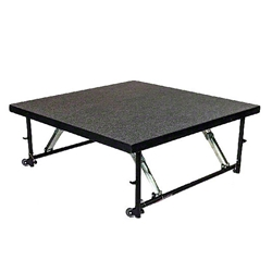 "Staging 101 4x4 Stage Panel with Wheels, 16""-24"" High 4x4 staging platform, stage deck, wheeles, wheeled, casters"