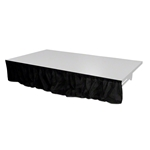 "Pro Flex 8'x16"" Black Stage Skirt (8'x16"") velcro, hook and loop, skirting, 8x16, 16x8, 16 skirt, drape"