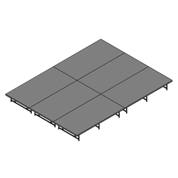 "Staging 101 12x16 Stage System, 16""-24"" High stage 101, staging 101 portable stage, 12x16, 16x12, 24x8, 8x24, 192 square feet, dual height, adjustable height"
