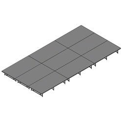 "Staging 101 12x24 Stage System, 16""-24"" High stage 101, staging 101 portable stage, 12x24, 24x12, 36x8, 8x36, 288 square feet, dual height, adjustable height"