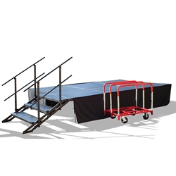 TotalPackage™ Dual-Height Portable Stage Kit with Wheels, 8x12 8x12, 12x8, folding stage, cart, storage, portable stage kit, adjustable height, total package