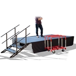 TotalPackage™ Dual-Height Portable Stage Kit with Wheels, 8'x12' 8x12, 12x8, folding stage, cart, storage, portable stage kit, adjustable height, total package