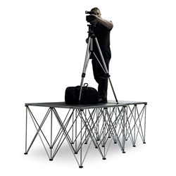 IntelliStage Lightweight Dual 4x4 Folding Camera Platforms with Risers (Ground Shippable) 4x8, 4 x 8, 48x96, modular stage, camera risers, camera platforms, spider pod, spiderpod, tripod system