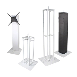 ProX Flex Totem TV Package w/ Stand, TV Mount & Speaker Mount trussing totems, trussing towers, ProX Direct, ProX, Flex Tower, Flex Tower Totem, adjustable tower