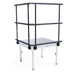 QuickLock Staging 3 Guard Rail (2-Pack) portable stage guardrails, 3x3 guardrail, stage rail, safety rail, conductor platform rail