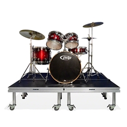 QuickLock Staging 6x6 Mobile Drum Riser, Industrial Finish 6x6, 72x72, portable stage platform, portable staging platform, stage deck, stage panel, quicklock, quicklock staging, mobile drum riser, mobile riser, drum riser, drum