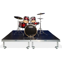 QuickLock Staging 8x8 Mobile Drum Riser, Industrial Finish 8x8, 96x96, portable stage platform, portable staging platform, stage deck, stage panel, quicklock, quicklock staging, mobile drum riser, mobile riser, drum riser, drum