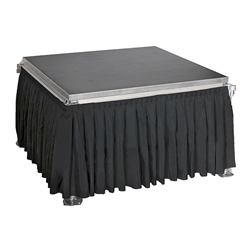 "Ameristage 8 Box-Pleat Stage Skirt for 24"" High All-Terrain Systems (8x24"") portable stage skirting, velcro, hook and loop, 8x24, 24x8, 24 inch stage skirt, all-terrain skirt, all terrain skirt"