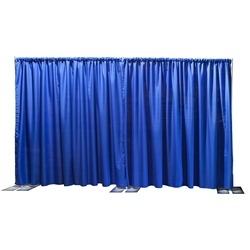 Ameristage FlexDrape 12'-20' Adjustable Back Drop/Curtain Wall Kit pipe and drape, pipes and drapes, curtain wall, background, backdrop, back drop, stanchions, crowd barrier, drape wall