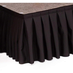 "Ameristage Box-Pleat Stage Skirt, 4x16"" Black (Overstock) portable stage skirting, velcro, hook and loop, 4x16, 4 x 16, 16 inch stage skirt, clearance, sale, black, overstock"