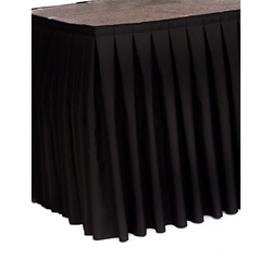 "Ameristage Box-Pleat Stage Skirt, 21x35"" Black (Overstock) portable stage skirting, velcro, hook and loop, 21x35, 21 x 35, 35 inch stage skirt, clearance, sale, black, overstock"