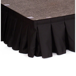 "Ameristage Box-Pleat Stage Skirt, 16x6"" Black (Overstock) portable stage skirting, velcro, hook and loop, 16x6, 16 x 6, 6 inch stage skirt, clearance, sale, black, overstock"