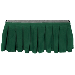 "Ameristage Box-Pleat Stage Skirt, 8x25"" Hunter Green (Overstock) portable stage skirting, velcro, hook and loop, 8x25, 8 x 25, 25 inch stage skirt, clearance, sale, hunter green, overstock"