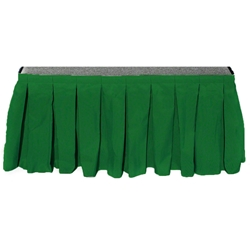 "Ameristage Box-Pleat Stage Skirt, 8x17"" Kelly Green (Overstock) portable stage skirting, velcro, hook and loop, 8x17, 8 x 17, 17 inch stage skirt, clearance, sale, kelly green, overstock"