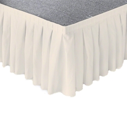 "Ameristage Box-Pleat Stage Skirt, 8x9"" Light Beige (Overstock) portable stage skirting, velcro, hook and loop, 8x9, 8 x 9, 9 inch stage skirt, clearance, sale, light beige, overstock"
