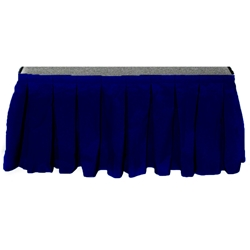 "Ameristage Box-Pleat Stage Skirt, 6x17"" Navy (Overstock) portable stage skirting, velcro, hook and loop, 6x17, 6 x 17, 17 inch stage skirt, clearance, sale, navy, overstock"