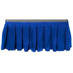 "Ameristage Box-Pleat Stage Skirt, 6x9"" Royal Blue (Overstock) portable stage skirting, velcro, hook and loop, 6x9, 6 x 9, 9 inch stage skirt, clearance, sale, royal blue, overstock"